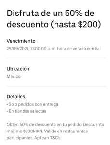 Uber Eats: 50% en dos pedidos máximo 200