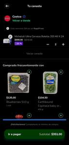 Costco Rappi, $351, 2 packs de Michelob ultra de 24 pz