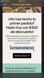 Uber eats: $300 de descuento para dos pedidos (cuentas nuevas)