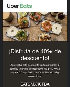 Uber Eats 40% descuento usuarios seleccionados