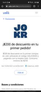 JOKR + UALA= $200 DESCUENTO