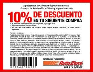 Autozone: 10% de descuento del 31 de Agosto al 25 de Octubre