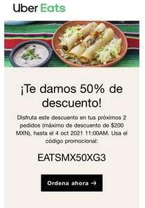 Uber Eats 50% Descuento Nuevo Cupón hasta Octubre 4 (usuarios seleccionados)