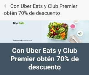 Club Premier: Descuento del 70% en Uber eats (Clientes nuevos)