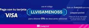 Liverpool: Descuento del 5% en Toda la Tienda Pagando con VISA