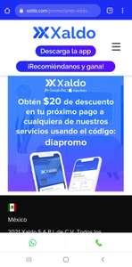 XALDO REGALA $20 pesos de descuento