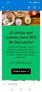 Uber Eats cupón de descuento del 50%
