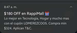 Rappi: Otro cupón de $180 de descuento para RappiMall (Compa mín $324 | Usuarios seleccionados)