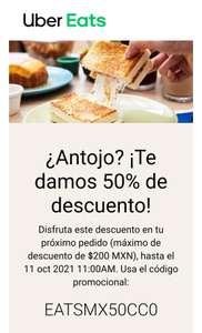 Uber Eats: 50 % de descuento en el próximo pedido (Usuarios seleccionados, Descuento máximo $200)