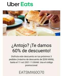 Uber Eats: 60% de descuento en 3 pedidos (hasta $200) (usuarios seleccionados)