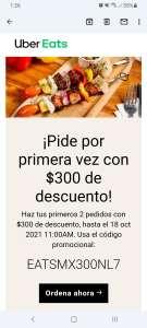 Uber Eats: 300 pesos de descuento en primer pedido