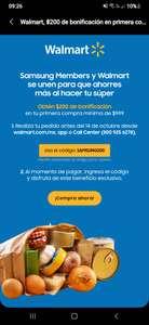 Samsung members: $200 bonificación en Walmart super