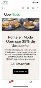 Uber Eats: 25% de descuento en 5 pedidos (Usuarios seleccionados)