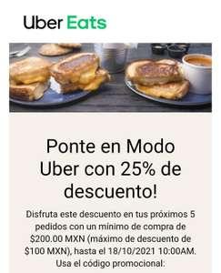 Uber eats: 25% de descuento en 5 pedidos (Usuarios seleccionados | Compra mín. $200 | Topado a $100)