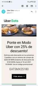Uber Eats: 25% de descuento en 5 pedidos (Usuarios seleccionados | Topado a $100 | Compra mín. $200)
