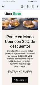 Uber Eats: Descuento de 25 % en los próximos 5 pedidos (Usuarios seleccionados | Compra mín $200 | Topado a $100)