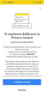 Mercado libre: $200 de descuento para usuarios nuevos