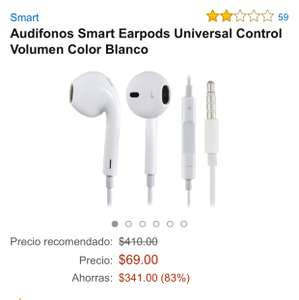 Amazon MX: Audifonos Smart Earpods Universal Control Volumen Color Blanco