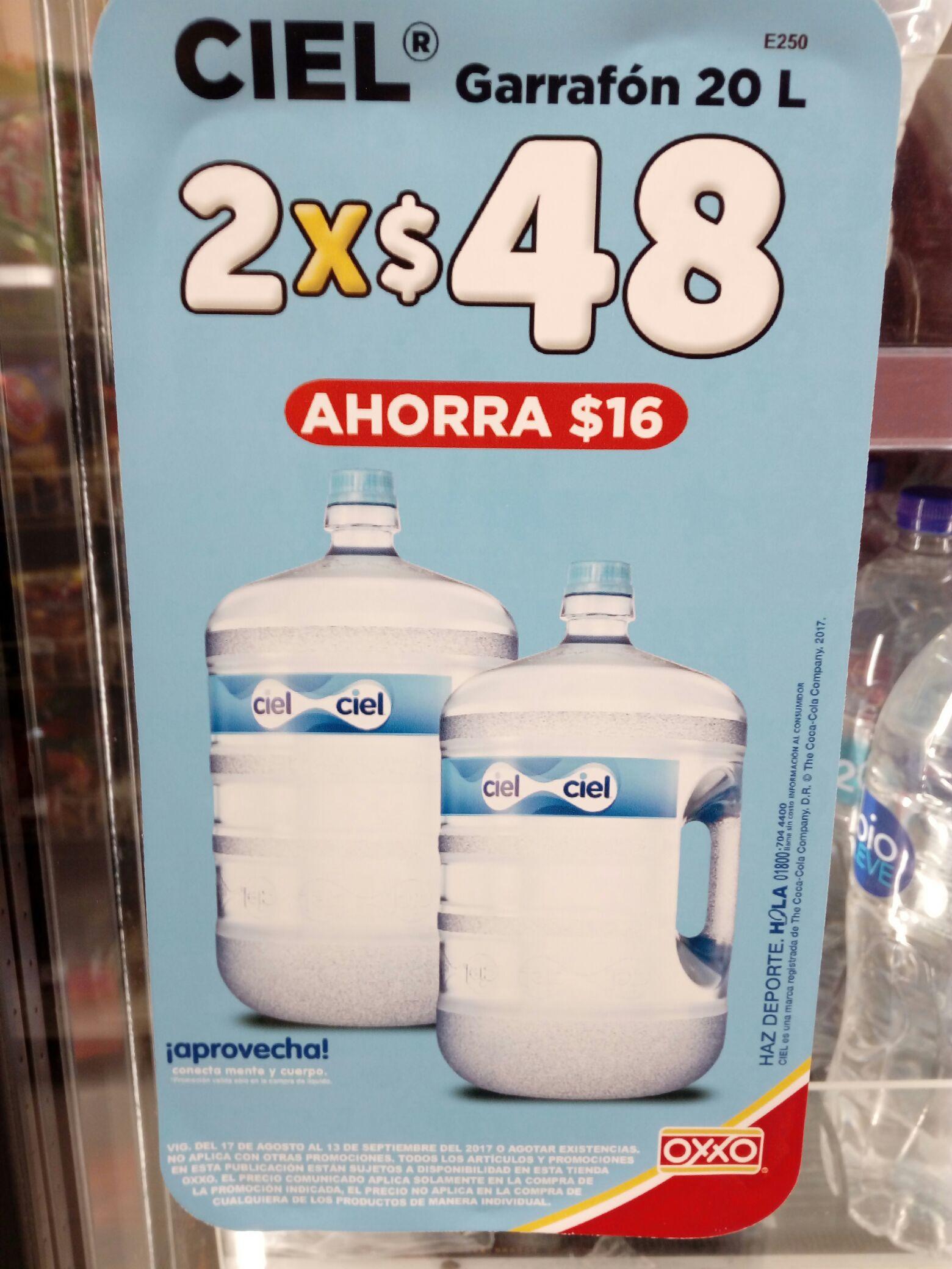 OXXO: 2 Garrafones Ciel por $48