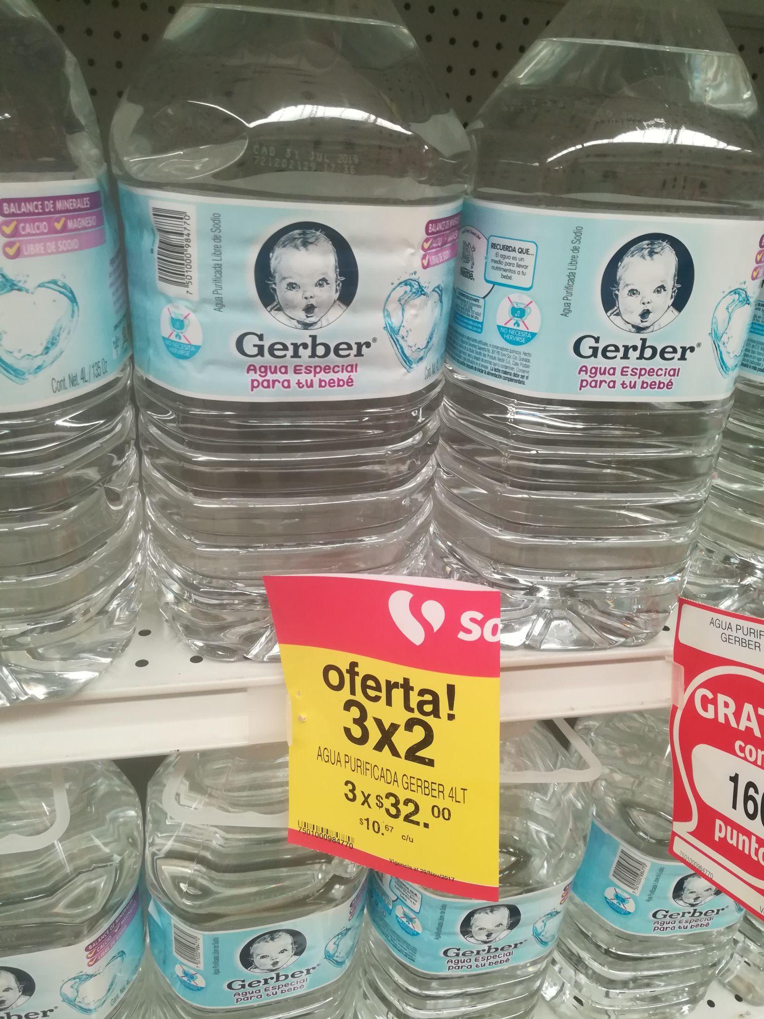 Soriana: Agua Gerber para bebe de 4lt al 3x2. Pagas $32 x 3