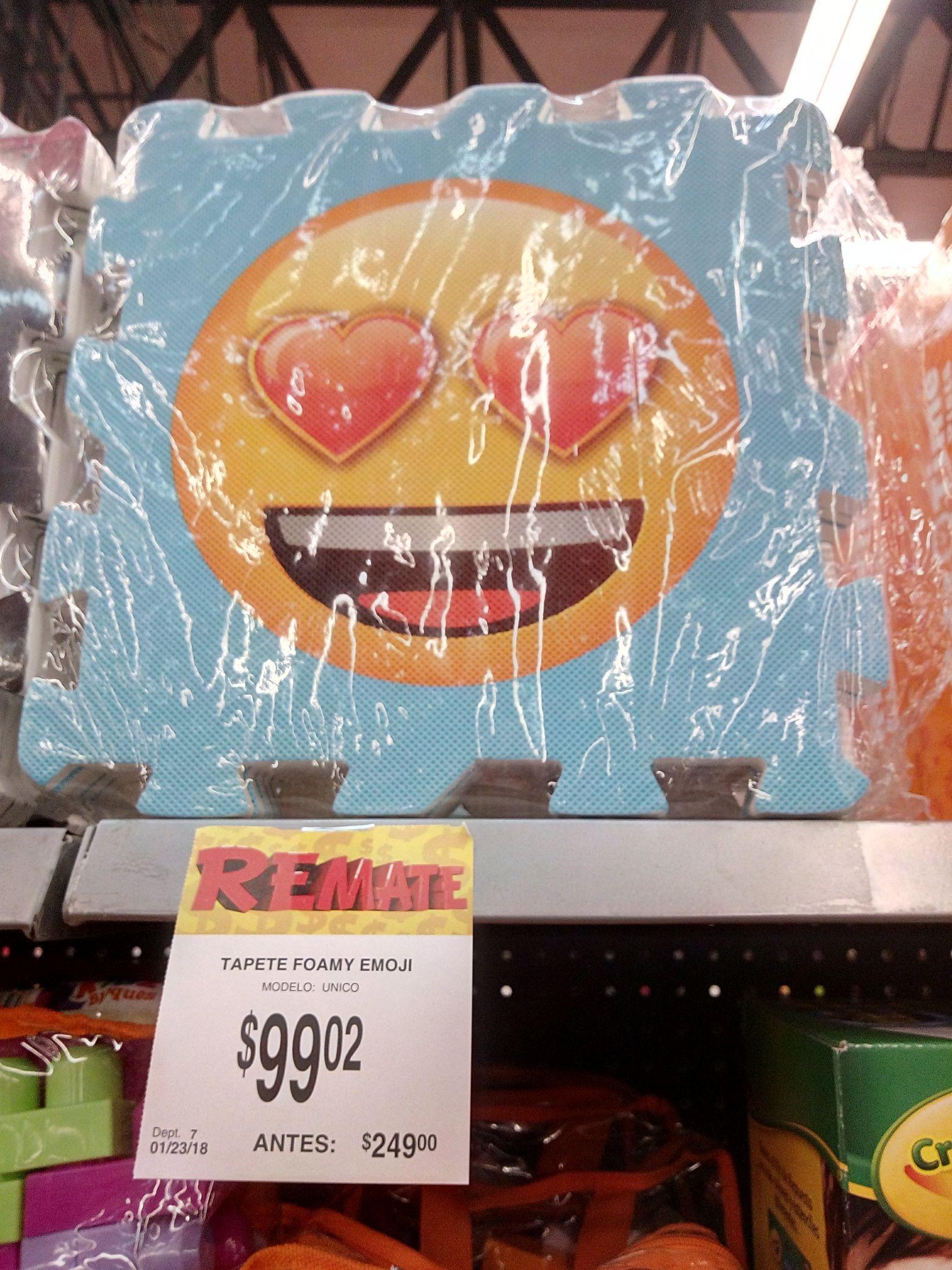 Bodega Aurrerá: Tapete Emoji Foamy $99.02.  -%60