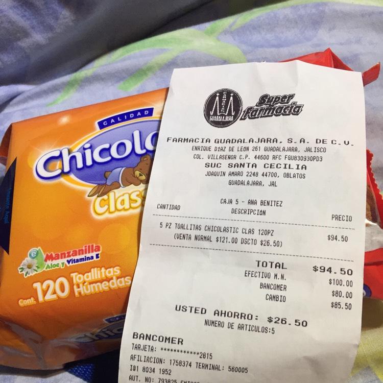 Farmacias Guadalajara: Toallitas Chicolastic 120 piezas