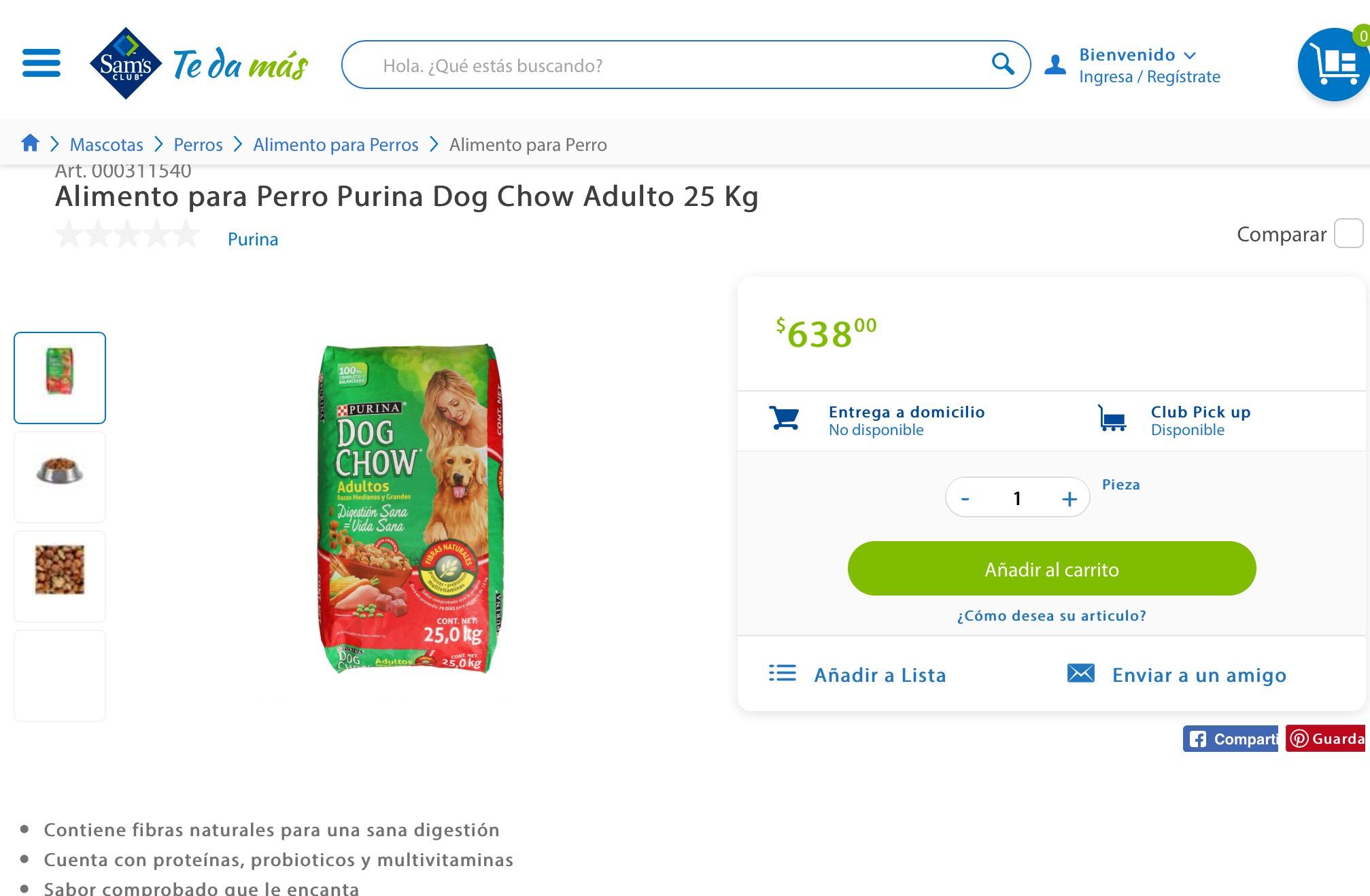 Sam's Club: Dog Chow Adulto 25 Kg