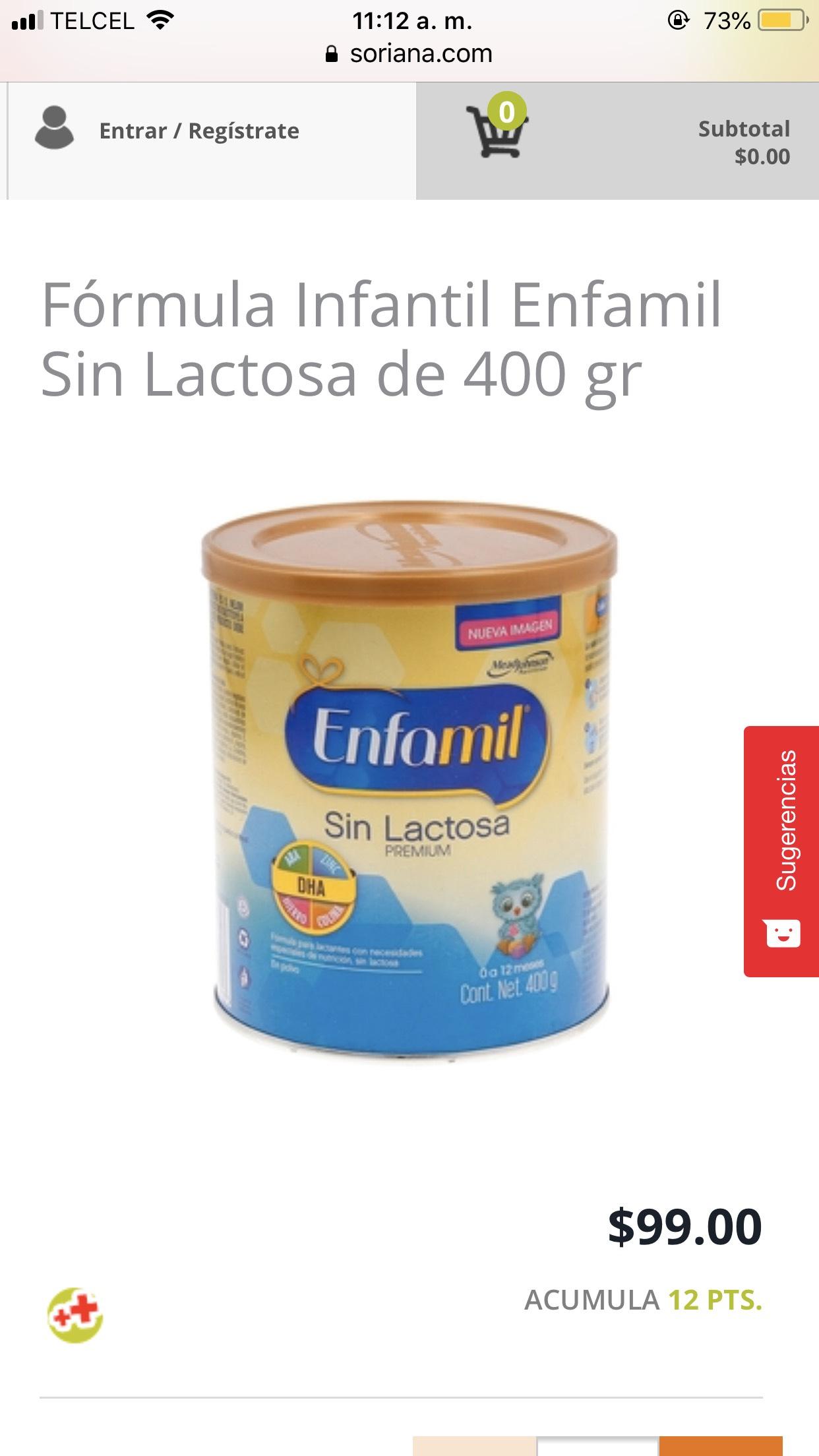 Soriana en linea: leche enfamil sin lactosa 400 grs