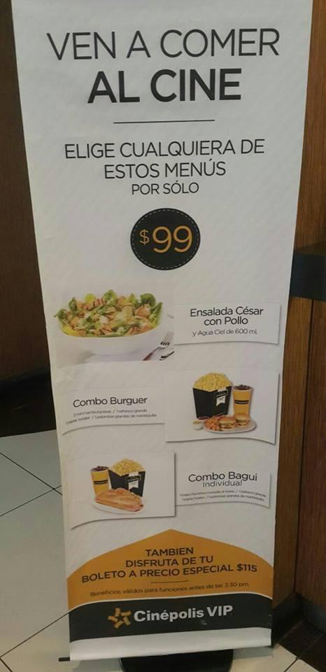 Menus en Cinépolis VIP desde $99