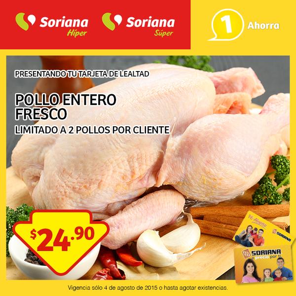 Soriana: Pollo entero fresco $24.90