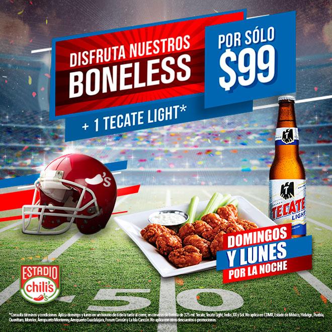 Chili's: boneless + 1 cerveza para partidos NFL (domingo y lunes por la noche)