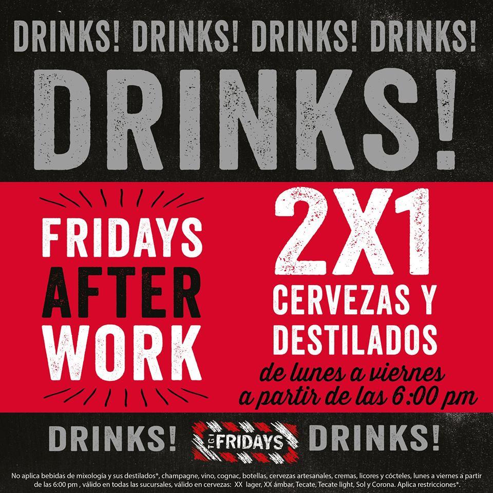 TGI Fridays: 2x1 en cervezas y destilados a partir de las 6 (lunes a viernes)