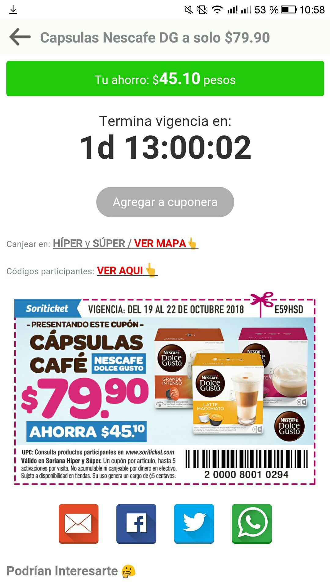 Soriana: cajas de 16 cápsulas dolce gusto a 79.90 con cupón