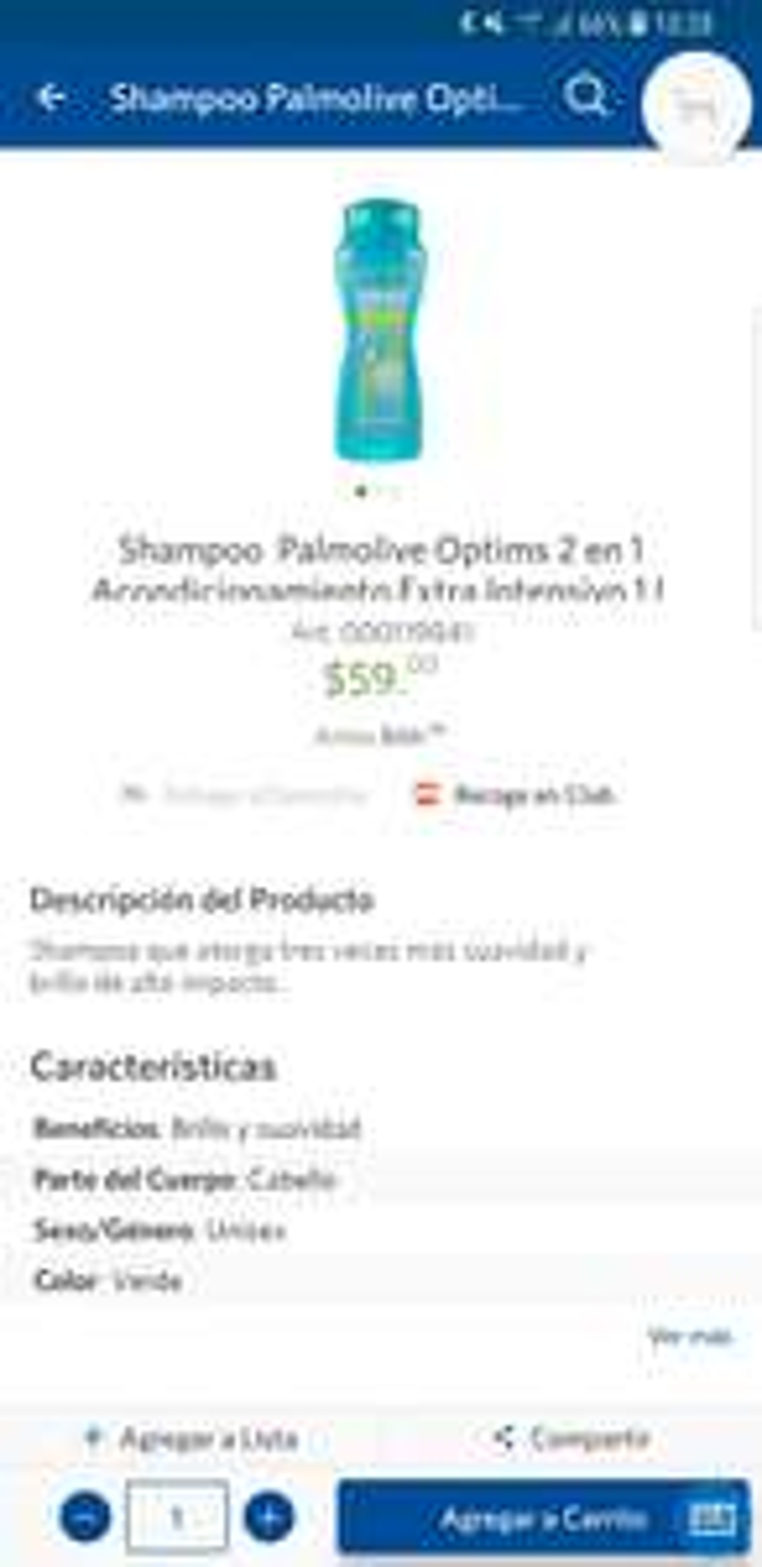 Sam's Club: Shampoo Palmolive Optims 2 en 1