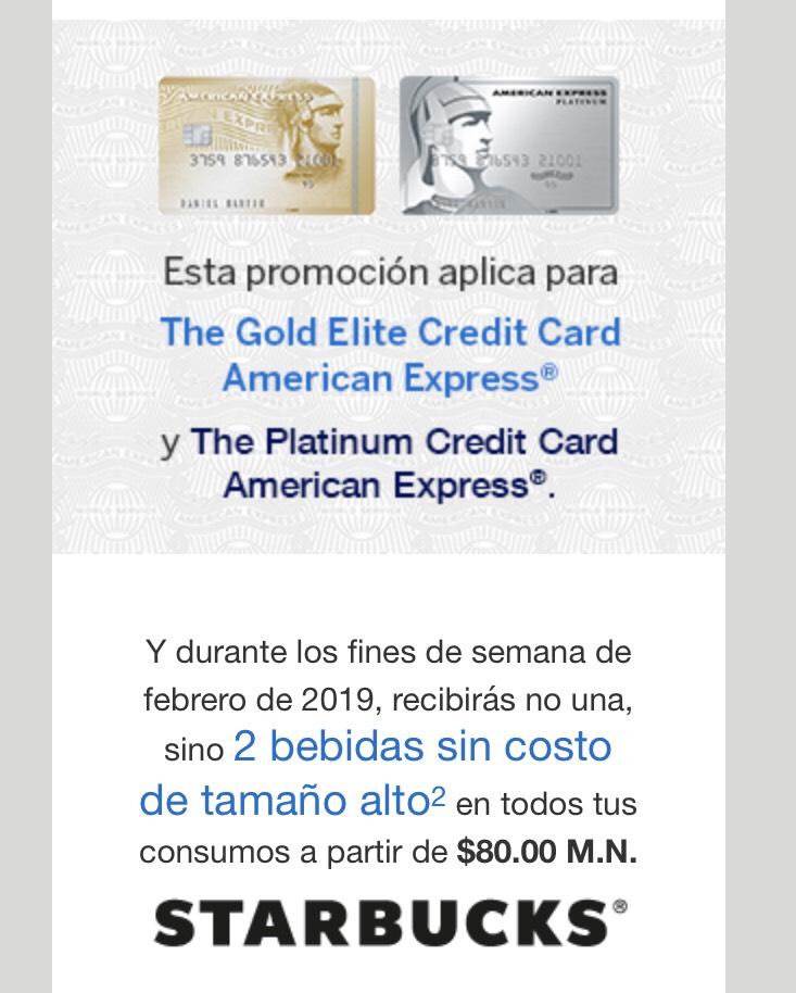 Starbucks: Dos bebidas gratis en consumo a partir de $80 con AMEX GOLD ELITE Y PLATINUM - fines de semana-