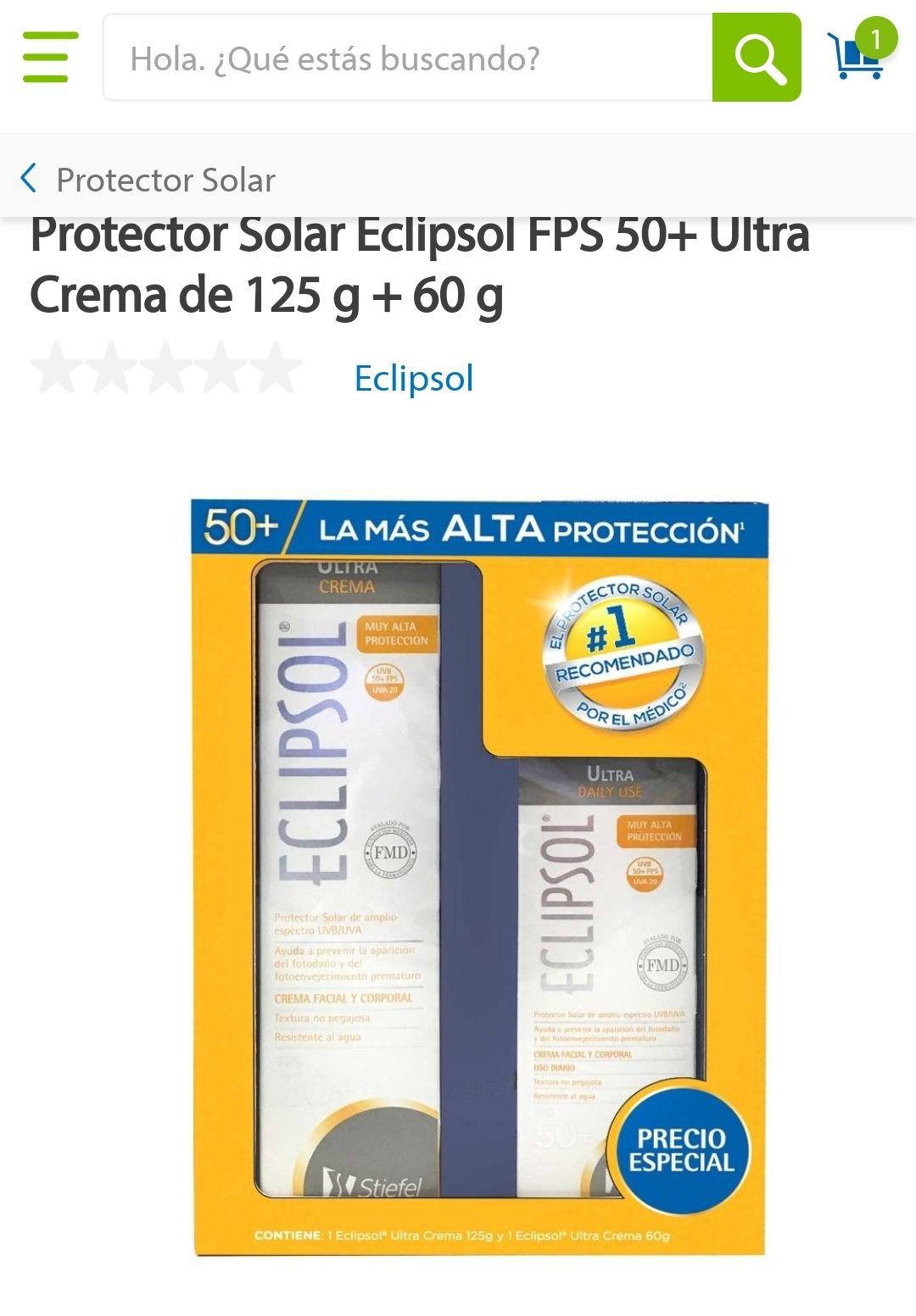 Sams. Bloqueador solar Eclipsol kit. FPS 50