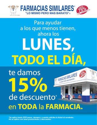 Farmacias Similares: 15% de descuento los lunes