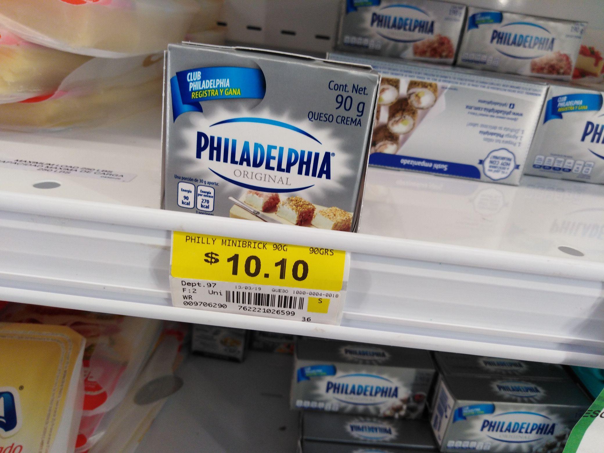 Bodega Aurrerá: queso philadelphia 90grs