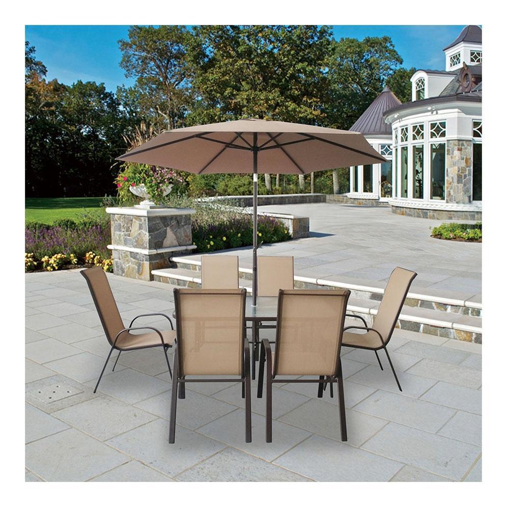 Walmart en línea: Mesa de Jardín con sombrilla y 6 sillas
