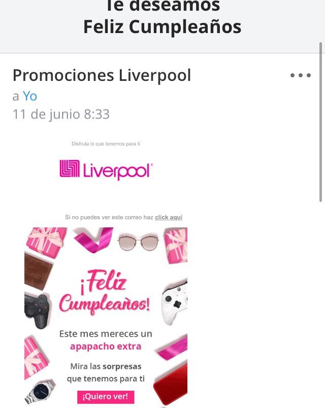 Liverpool: Promociones en el mes de tu cumpleaños