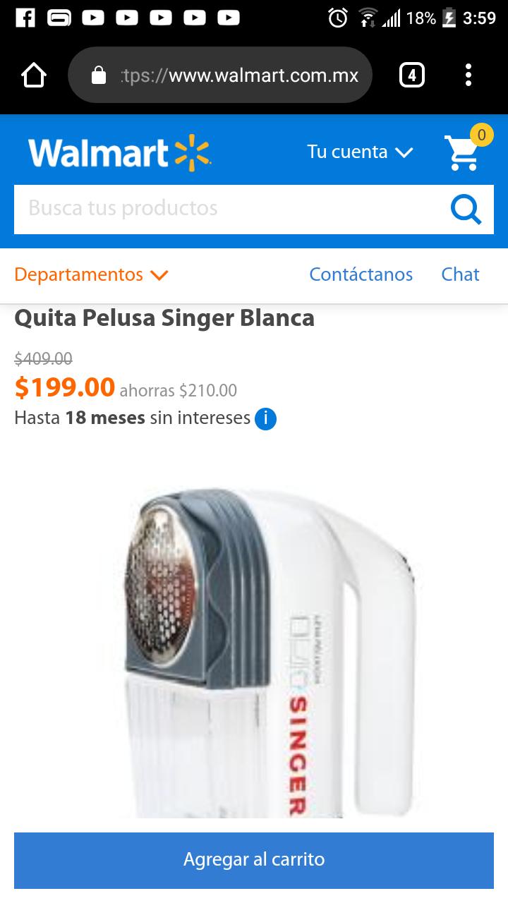 Walmart: Quita Pelusa Singer Blanca de 409 a 199