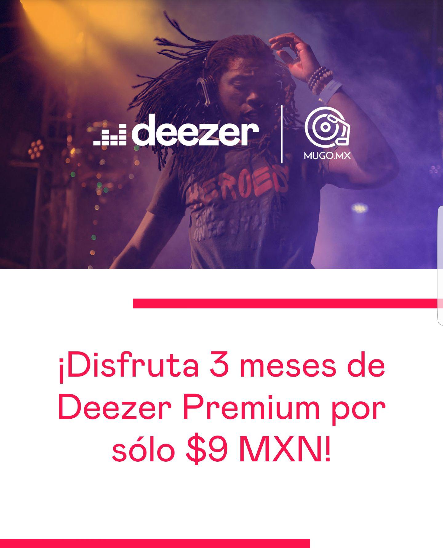 Deezer: Oferta de Mugo para tres meses de Deezer Premium por $9