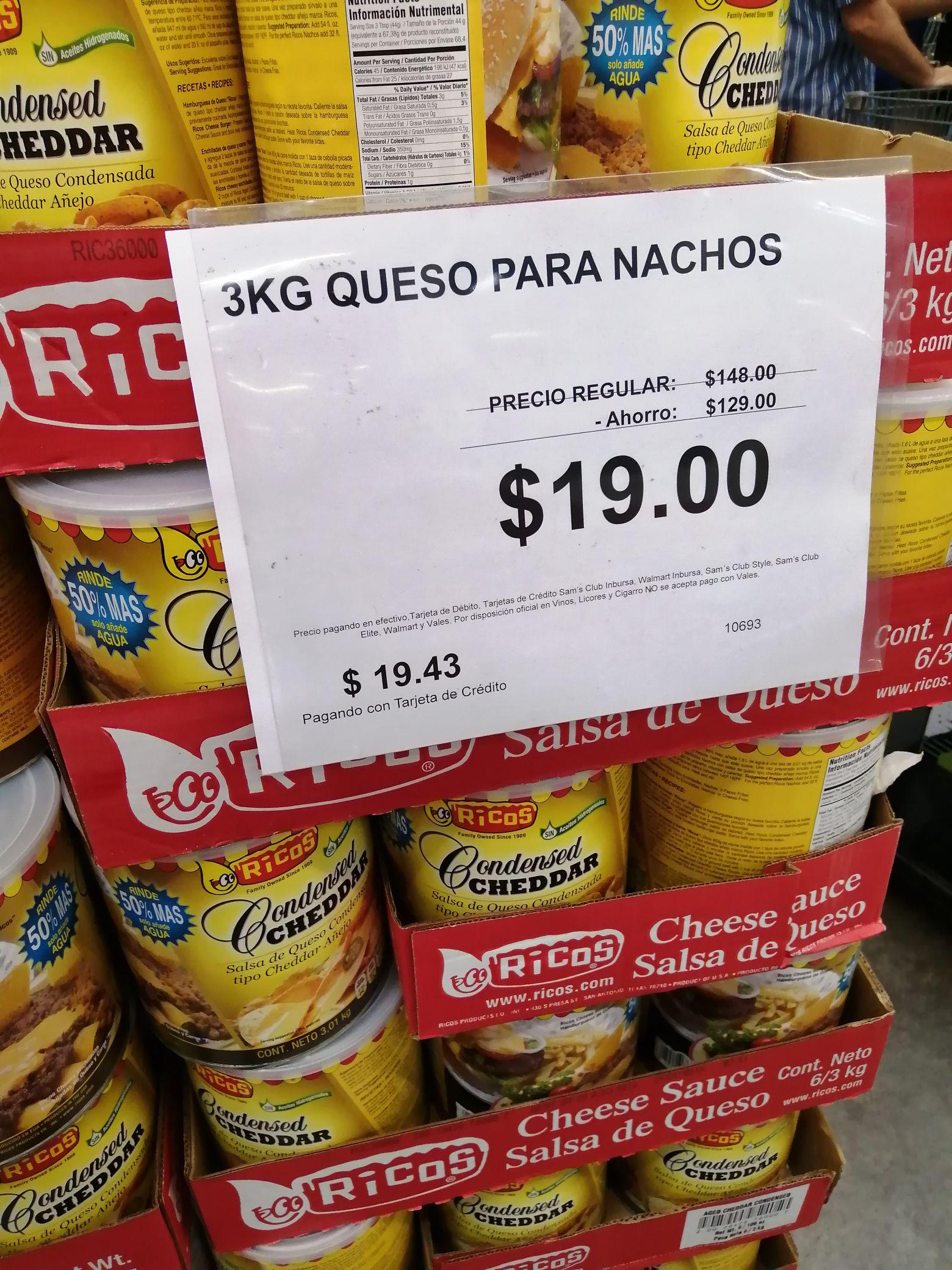 Sam's Club: Queso para nachos tipo cheddar