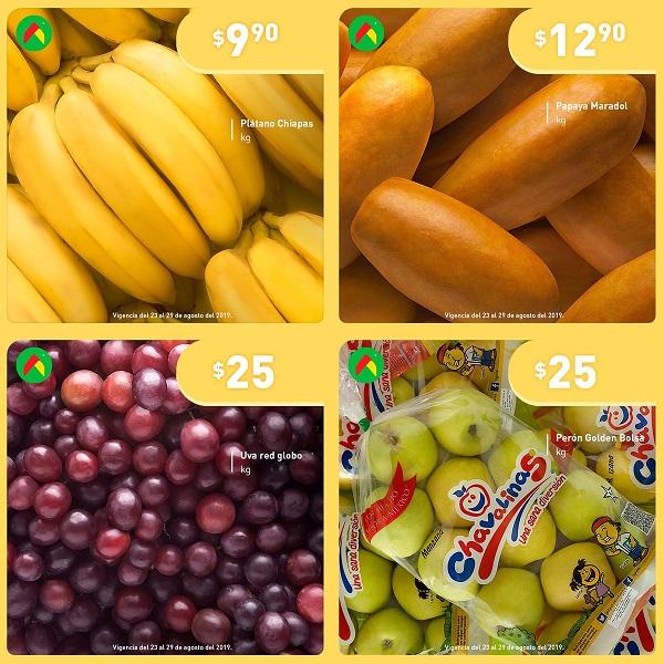 Bodega Aurrerá: El Tianguis de Mamá Lucha: Plátano $9.90 kg... Papaya $12.90 kg... Uva Globo $25.00 kg... Manzana Golden Bolsa $25.00 kg.