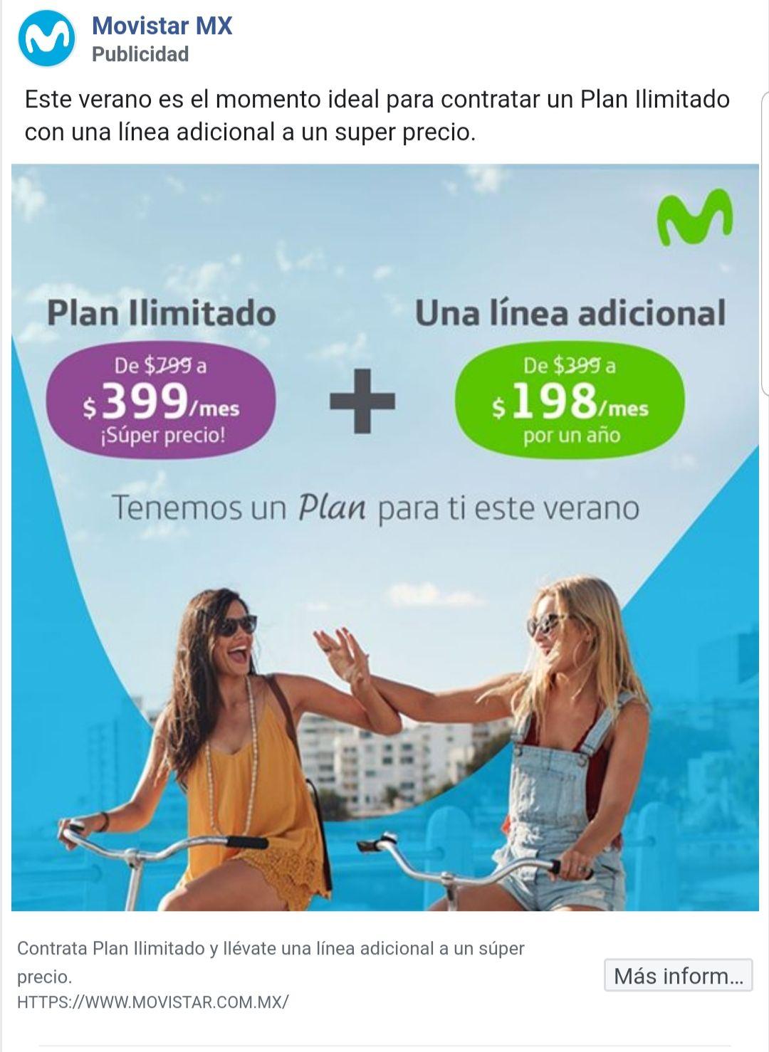 Movistar: Plan ilimitado, linea adicional por $198