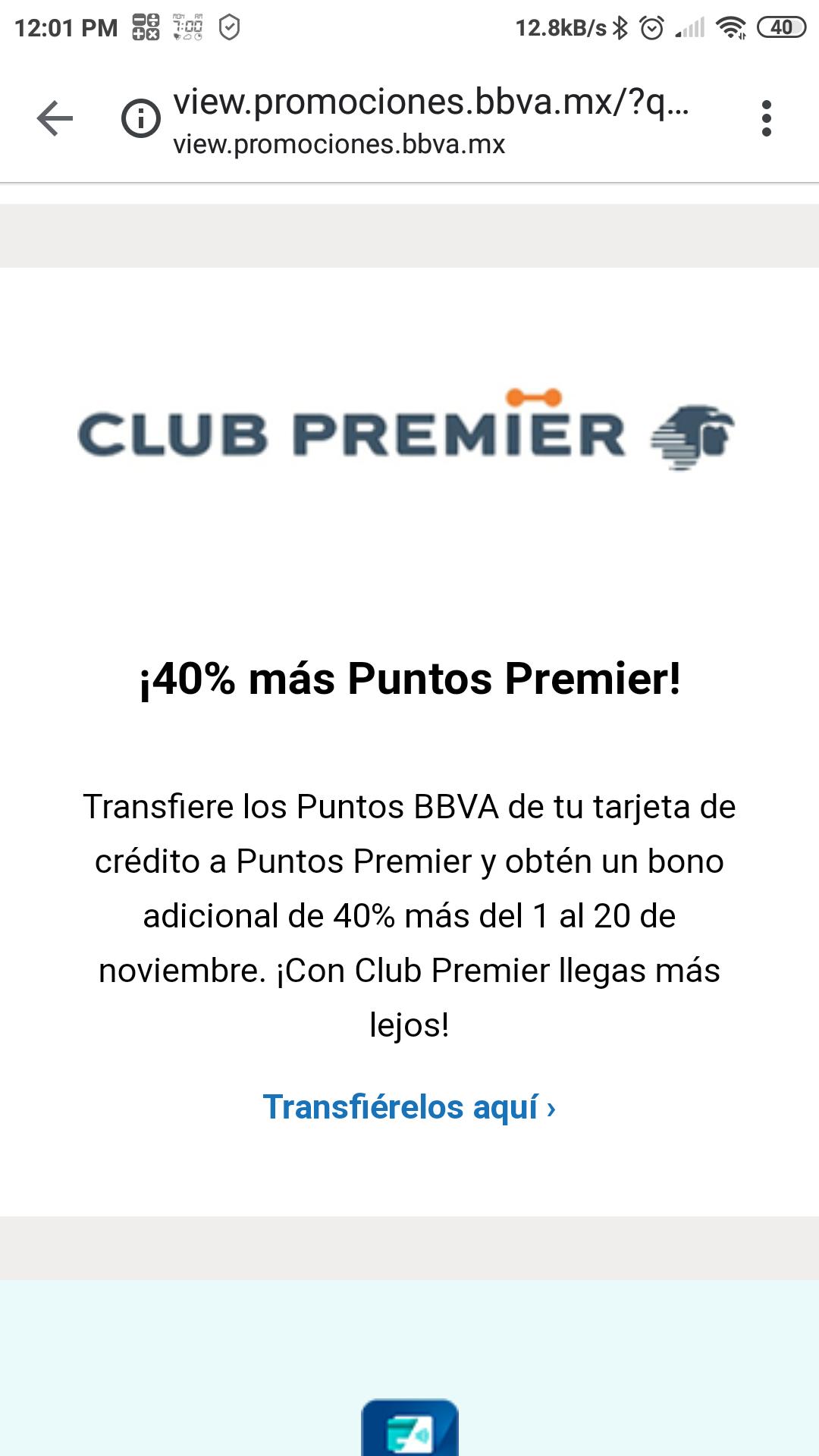 Club Premier Bono del 40% mas de puntos premier al transferir tus puntos BBVA