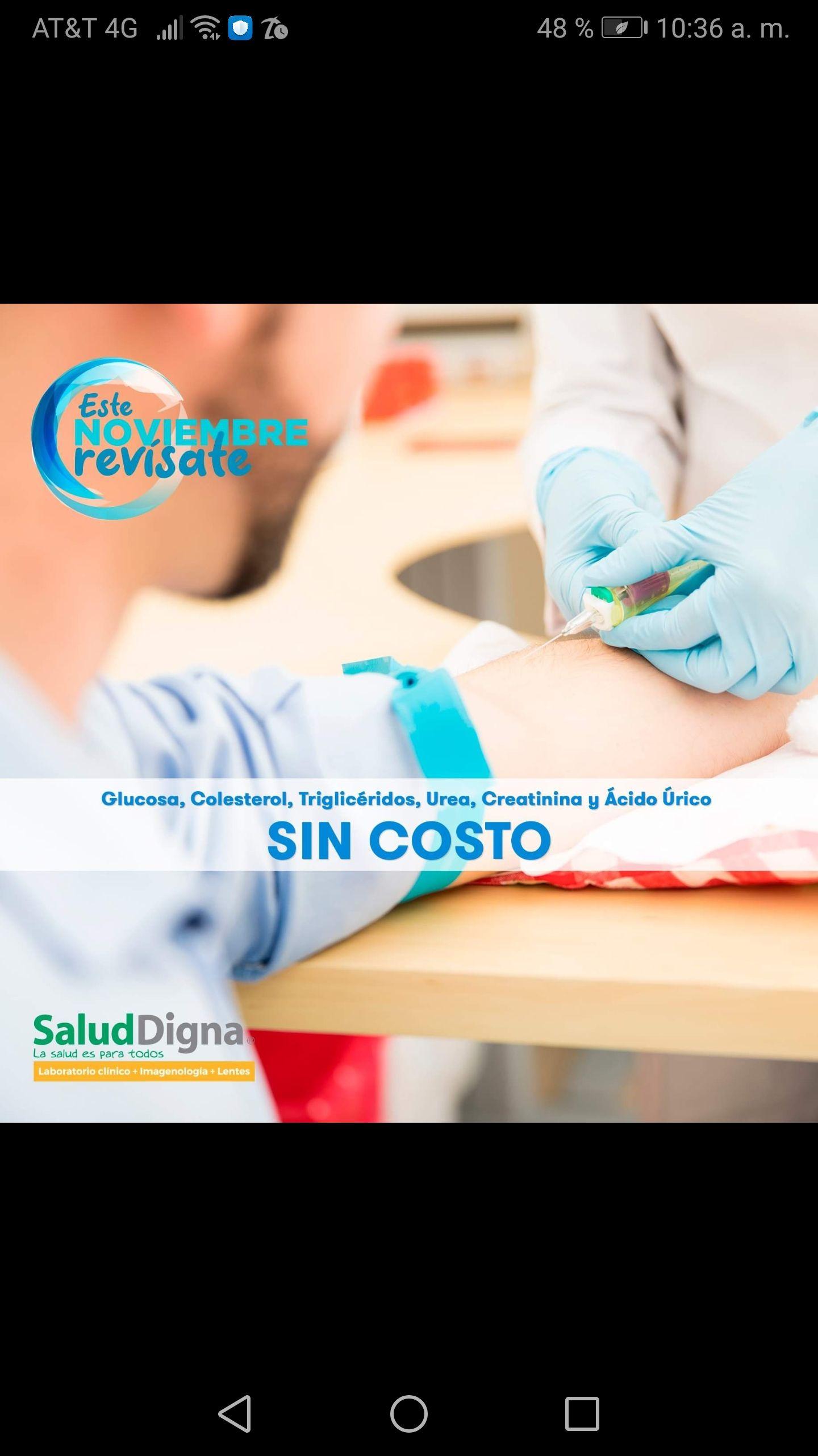 Salud Digna: Química Sanguínea gratis