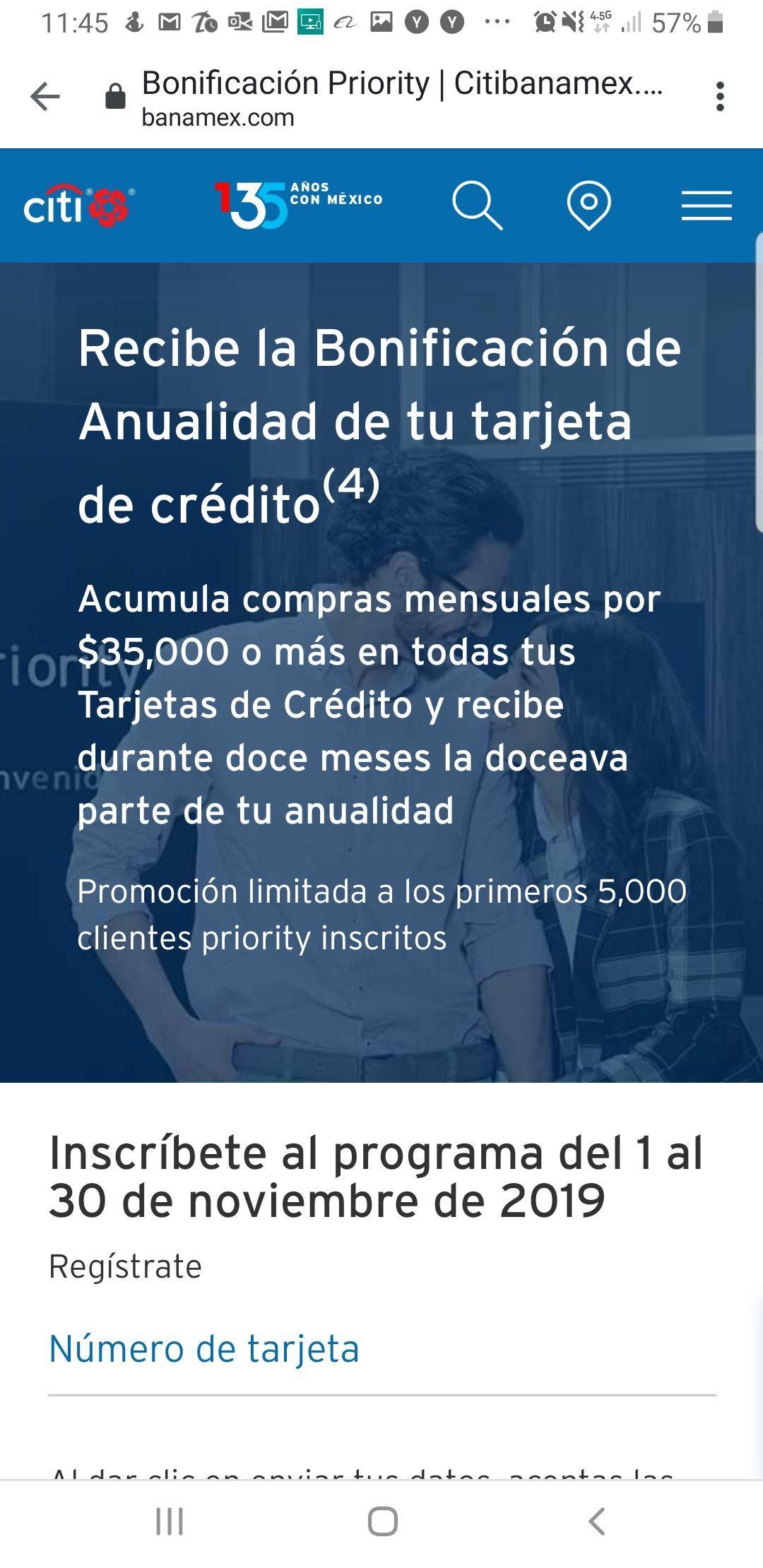 Bonificación de anualidad para clientes priority de CitiBanamex acumulando $35,000 de compas mensuales