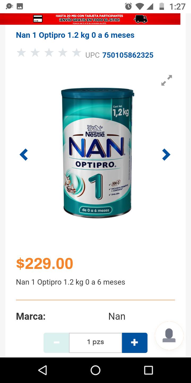 Chedraui en línea: Leche NAN 1 1.2kg