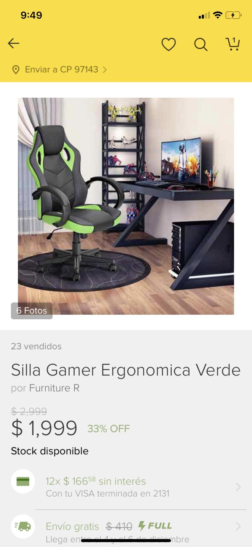 Tienda oficial Furniture R en Mercado Libre: Silla gamer ergonómica verde